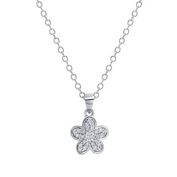 sterling silver diamond flower pendant