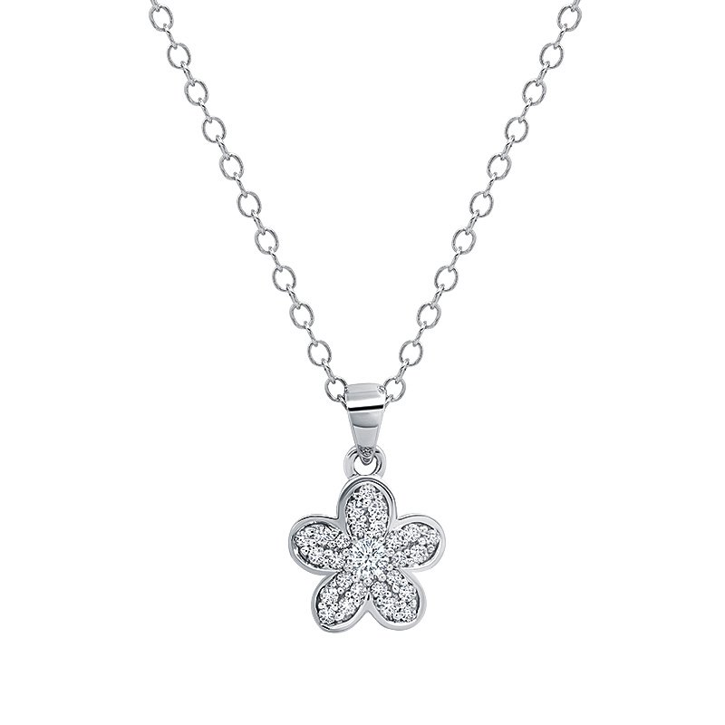 Greenberg's sterling silver diamond 0.26ctw flower pendant