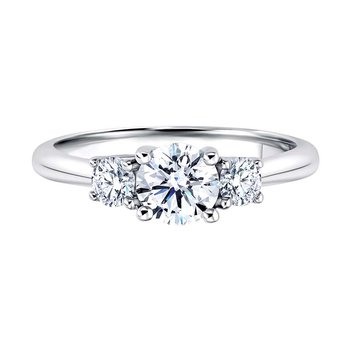 14K WG 1ctw Three Stone Diamond Ring
