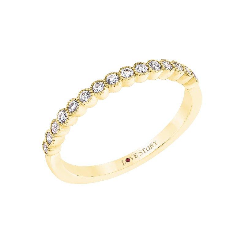 Love Story 14k yellow gold 1/4ctw diamond milgrain wedding band