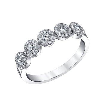 14k white gold 3/4ctw five-diamond wedding band