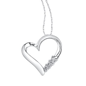 10k white gold 3-stone heart pendant
