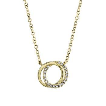 14K YG 0.07ctw Diamond Love Knot Circle Necklace