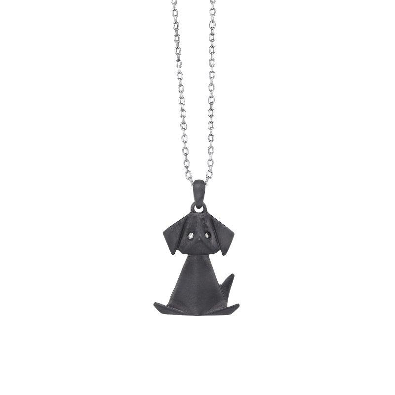 Greenberg's sterling silver black dog satin pendant