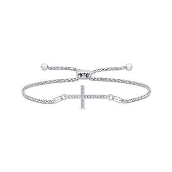 sterling silver diamond .12ctw cross bracelet