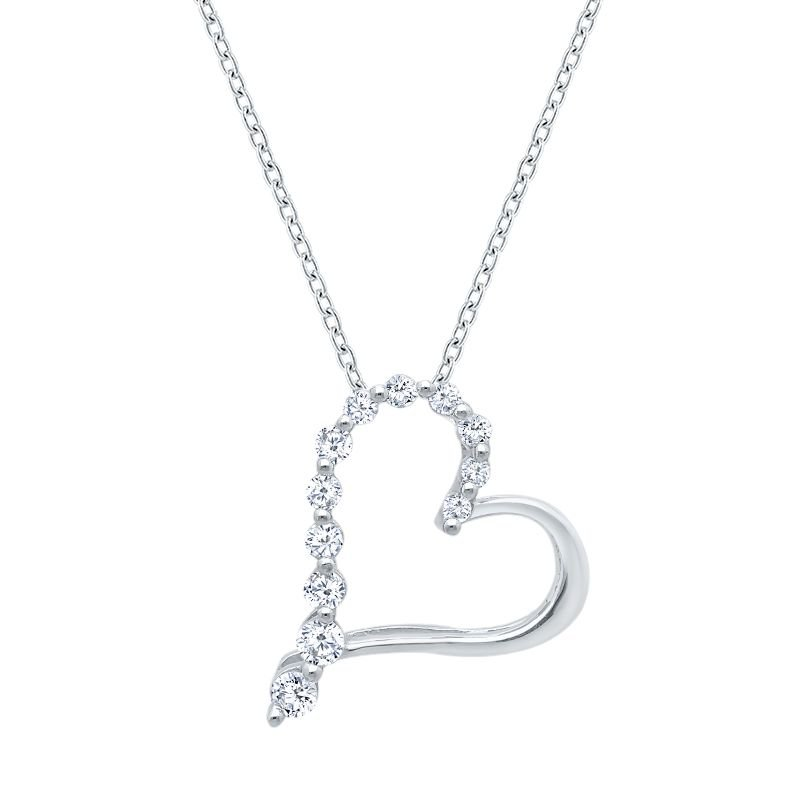 Greenberg's Sterling silver and diamond heart pendant