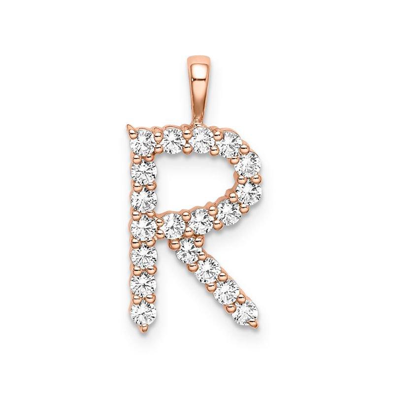 "Greenberg's 14k rose gold initial ""R"" pendant"