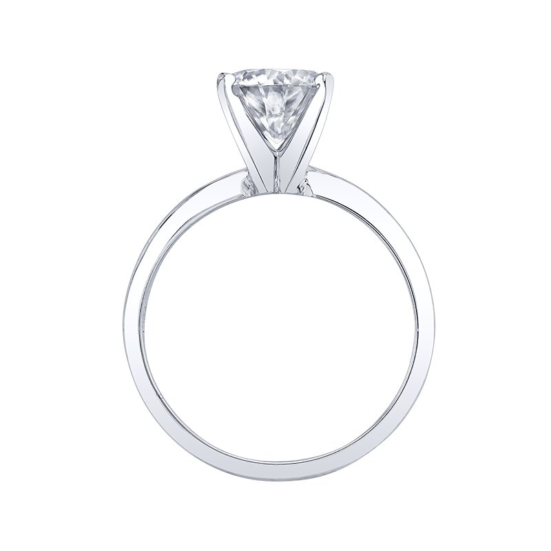 Enduring Light 14K WG 6.5MM Round Moissanite Solitaire Diamond Ring