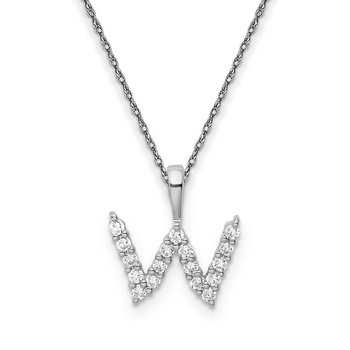 "14k white gold ""w"" initial pendant with chain"