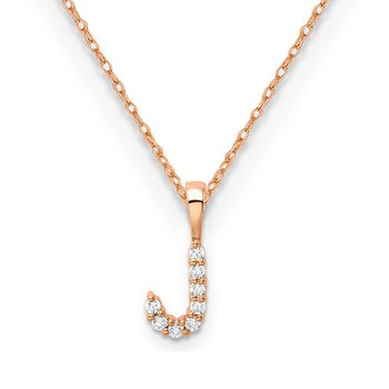"14k rose gold initial ""J"" pendant with chain"