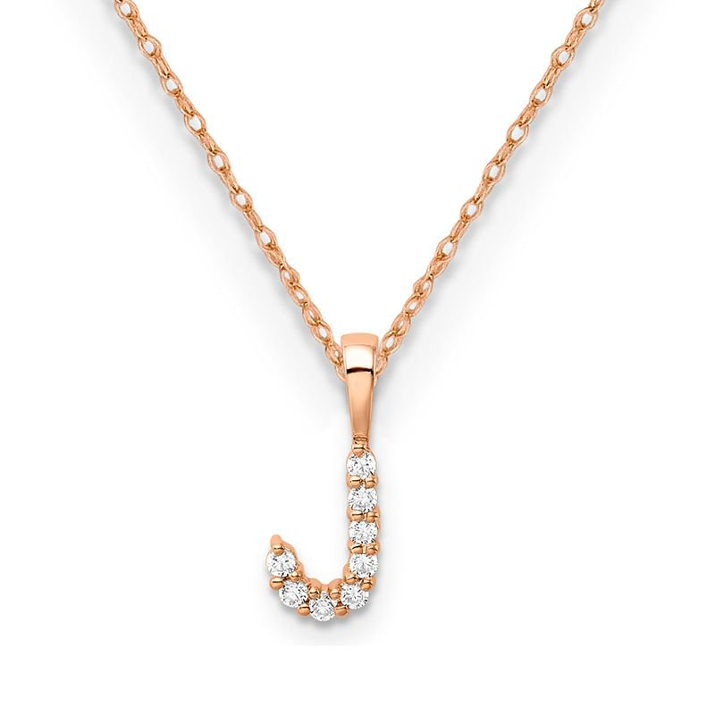 """Greenberg's 14k rose gold initial """"J"""" pendant with chain"""