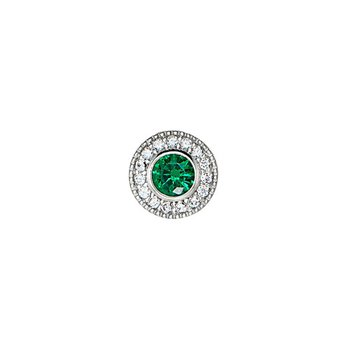platinum finish sterling silver simulated emerald charm