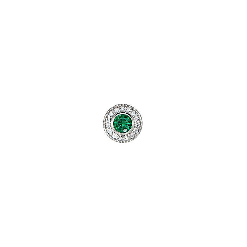 Kelly Waters platinum finish sterling silver simulated emerald charm