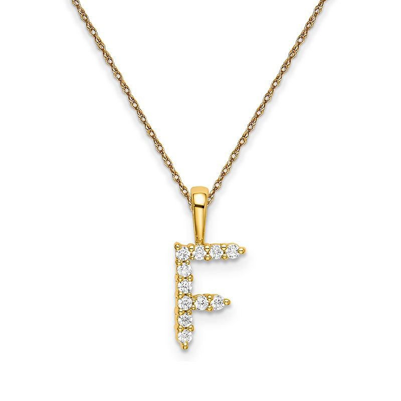 """Greenberg's 14k yellow gold initial """"F"""" pendant with chain"""