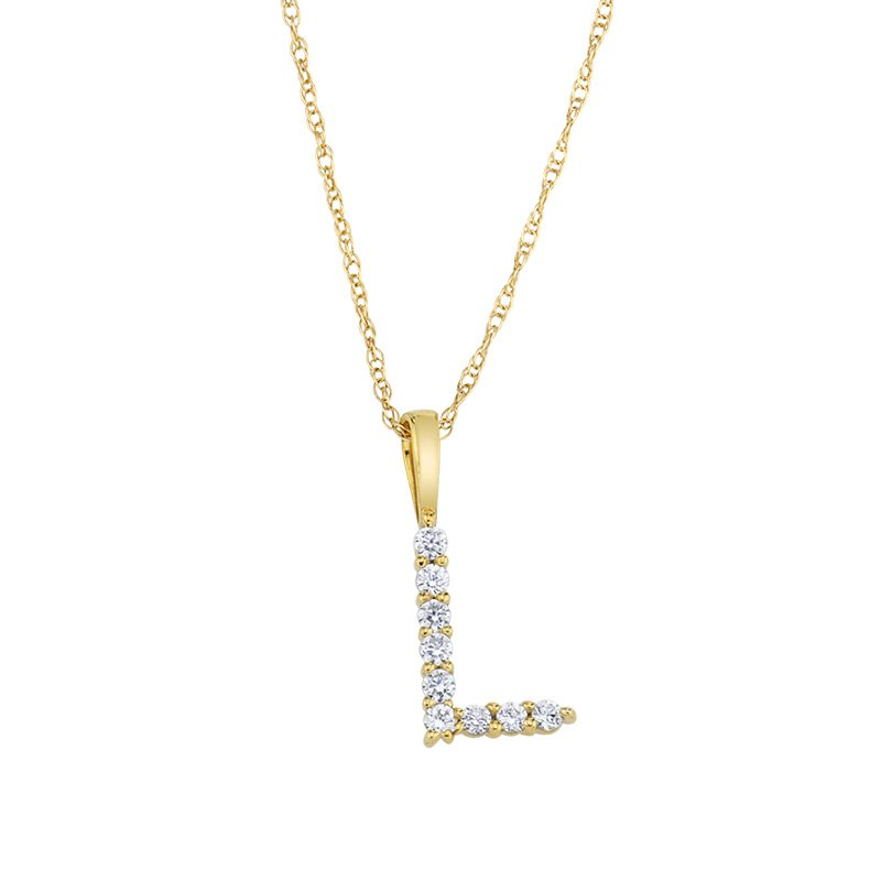 """Greenberg's 14k yellow gold """"L"""" initial pendant with chain"""