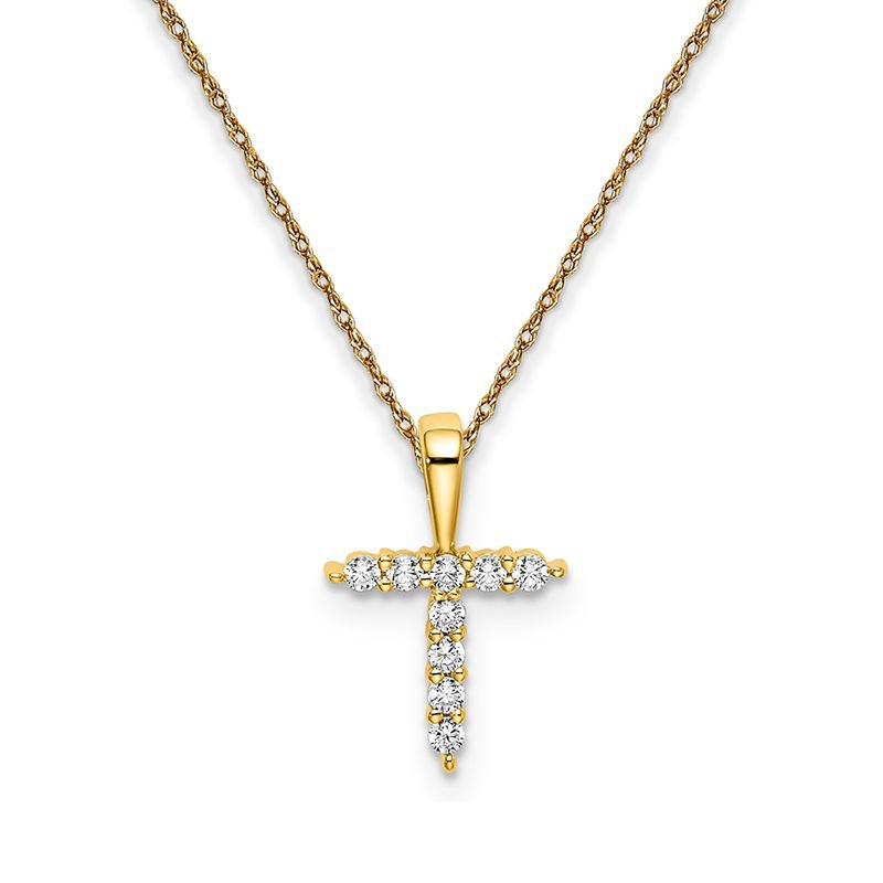 """Greenberg's 14k yellow gold Initial """"t"""" pendant with chain"""