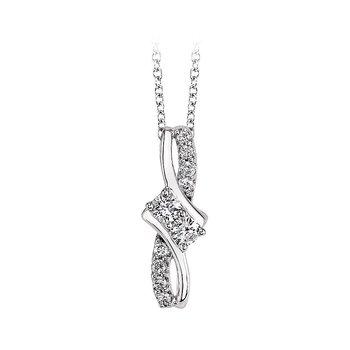 14k white gold and sparkly diamond two-stone pendant