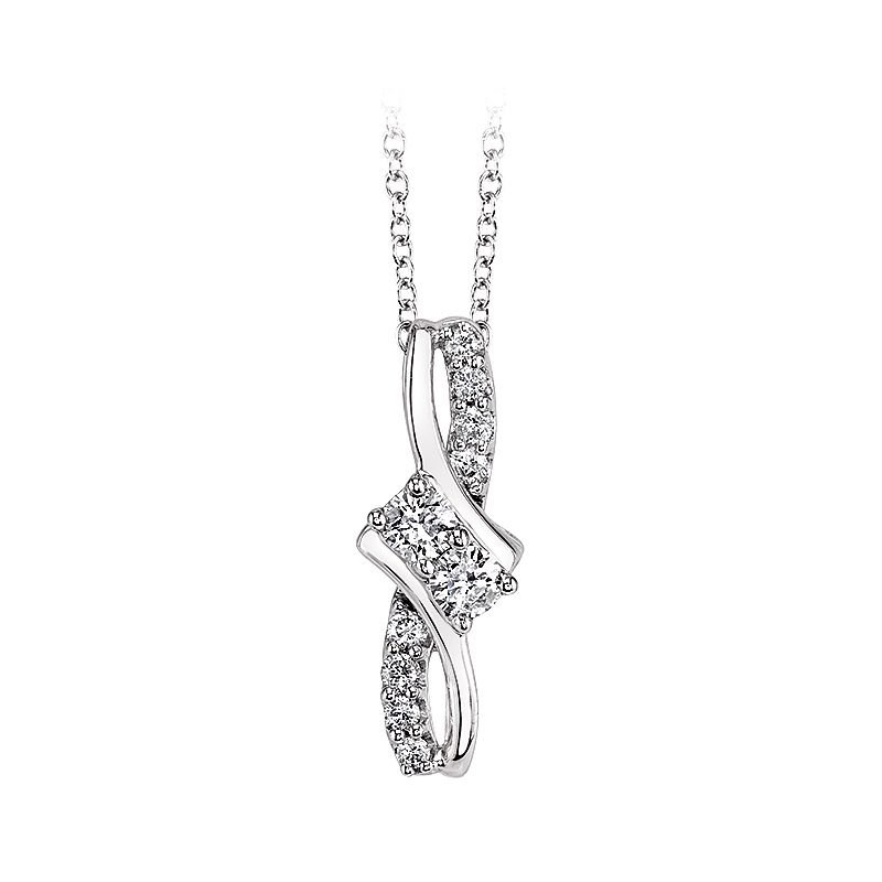 Greenberg's 14k white gold and sparkly diamond two-stone pendant
