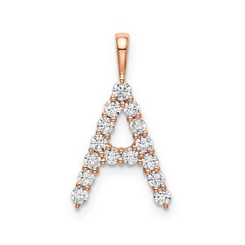 "14k rose gold initial ""A"" pendant"