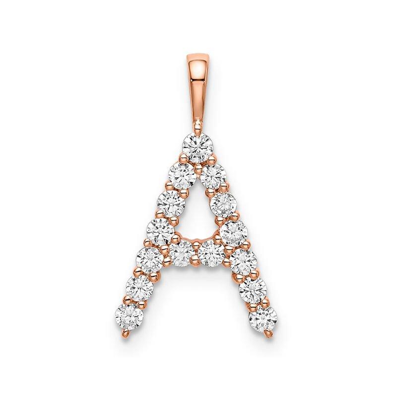 "Greenberg's 14k rose gold initial ""A"" pendant"
