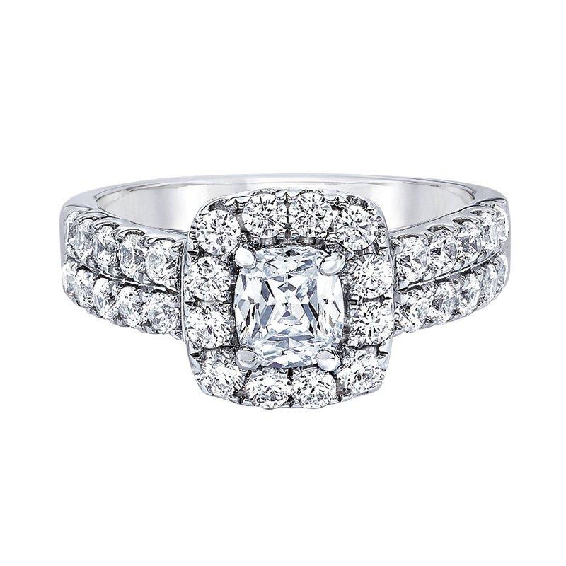 Love Story 14k white gold 2ctw 3/4 cushion cut diamond engagement ring