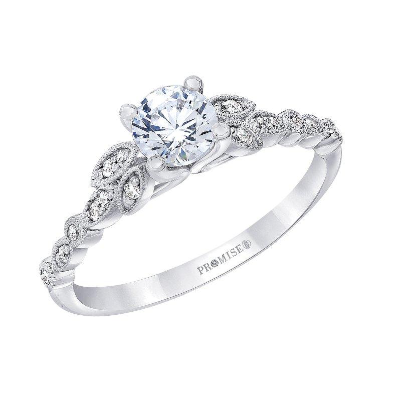 "Love Story 14k white gold 1/2ctw 3/8ct round ""Charlotte"" diamond engagement ring"