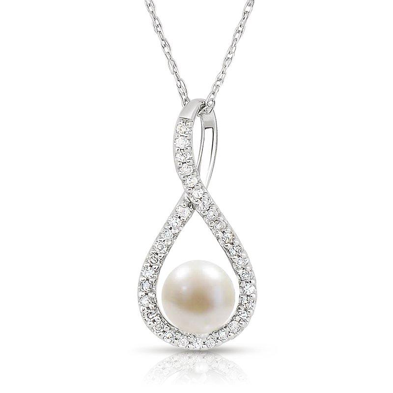 Greenberg's sterling silver .10ctw pearl swirl pendant