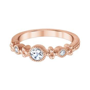 10k pink gold and morganite 3/8 round diamond ring
