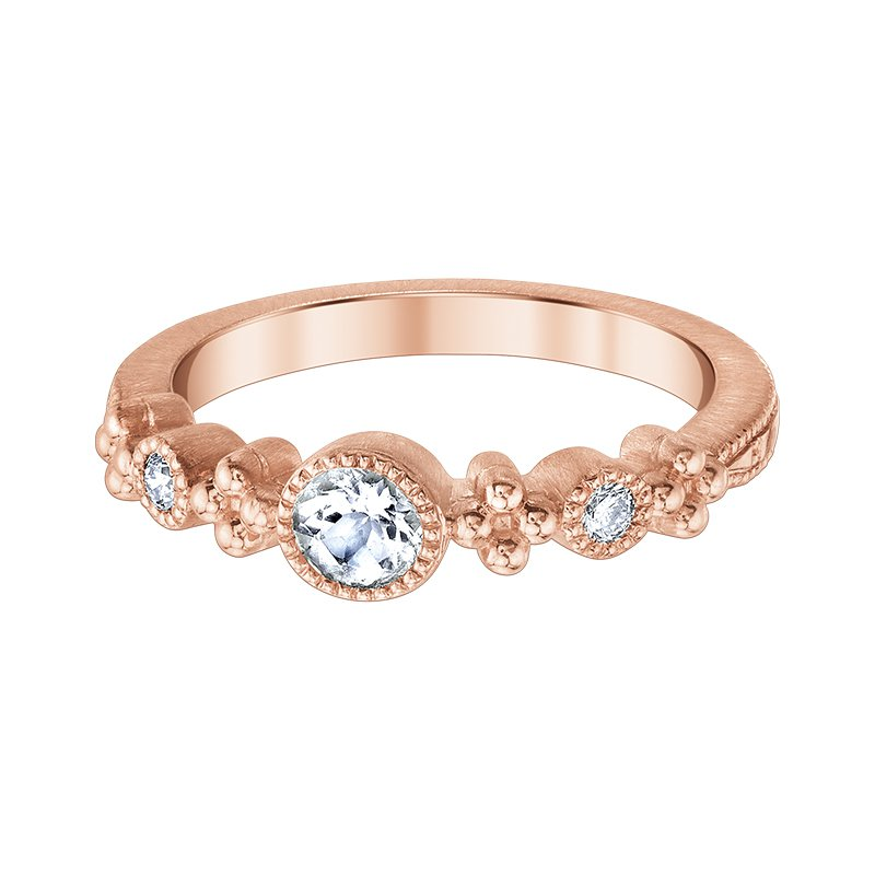 Greenberg's 10k pink gold and morganite 3/8 round diamond ring