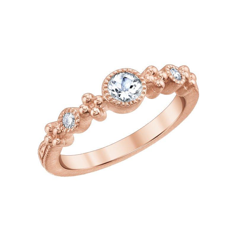 Greenberg's 10k pink gold and morganite 3/8 round diamond ring