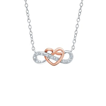 Sterling silver with pink micron plating infinity symbol pendant