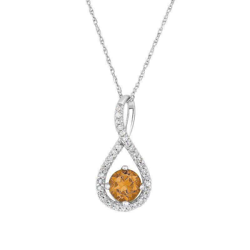 Greenberg's sterling silver .10ctw citrine swirl pendant