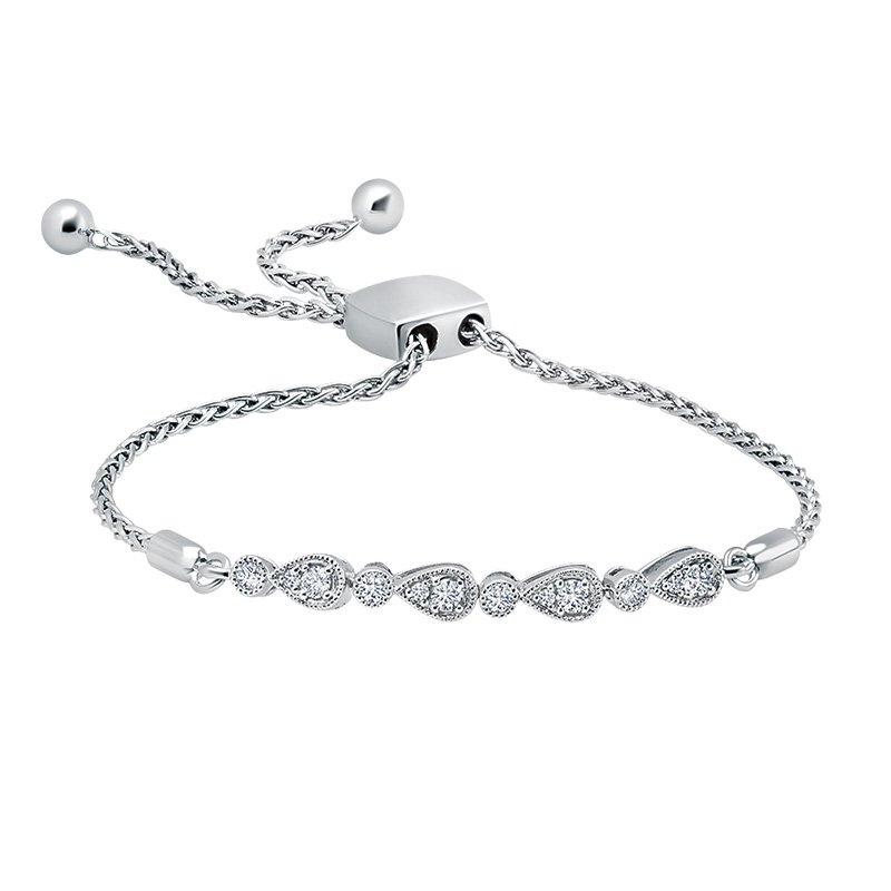 Greenberg's sterling silver 0.28ctw diamond fashion bracelet
