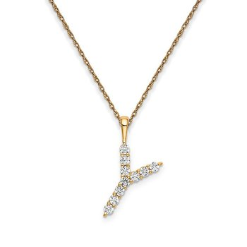 "14k yellow gold initial ""Y"" pendant with chain"