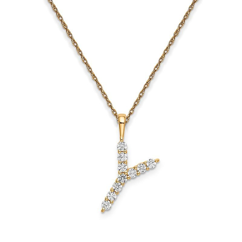 """Greenberg's 14k yellow gold initial """"Y"""" pendant with chain"""