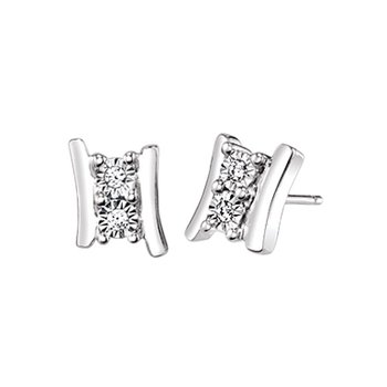sterling silver two-stone earrings