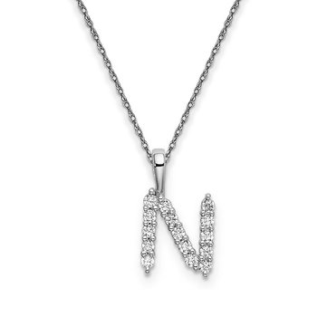 "14k white gold initial ""N"" pendant with chain"