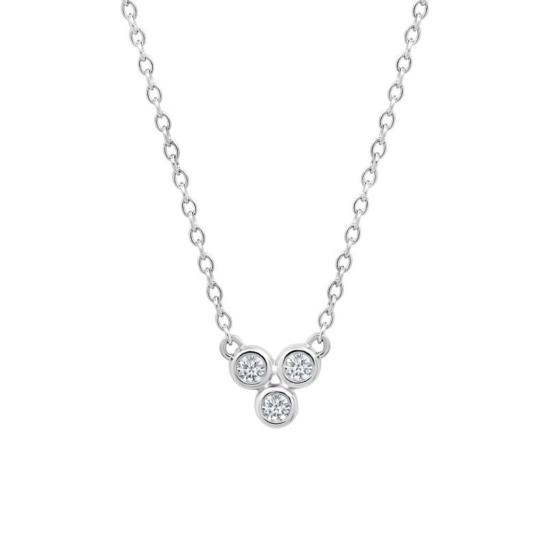 Greenberg's 10k white gold .09ctw three-round diamond fashion pendant