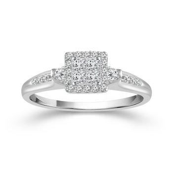 10k white gold .15ctw diamond quad promise ring