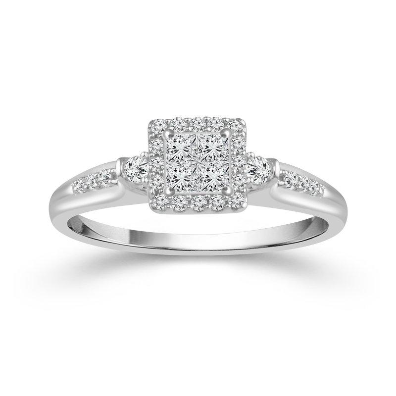 Greenberg's 10k white gold .15ctw diamond quad promise ring