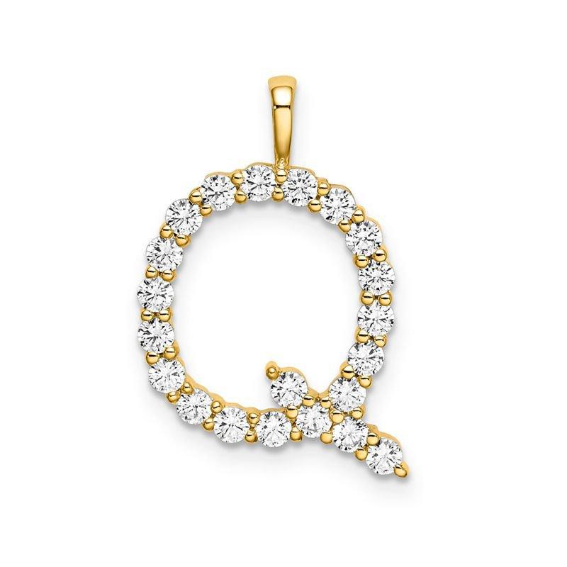 "Greenberg's 14k yellow gold initial ""Q"" pendant"