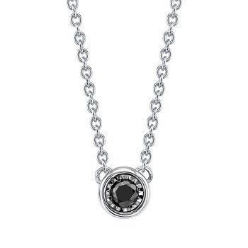 sterling silver black diamond bezel pendant