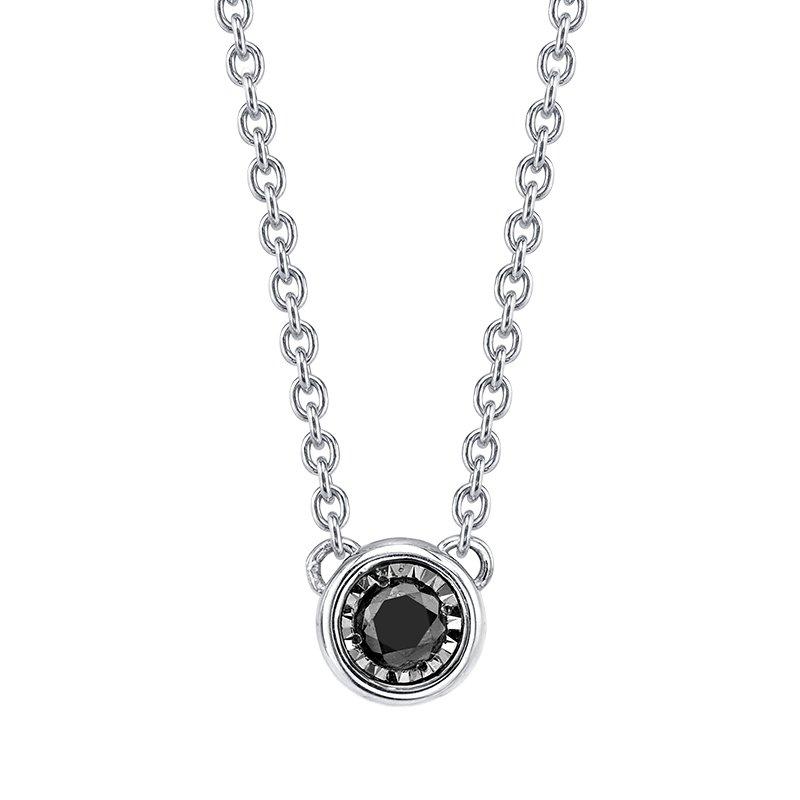 Greenberg's sterling silver black diamond bezel pendant