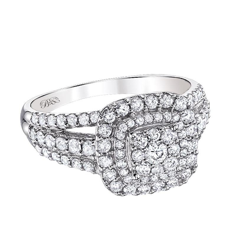 Beautiful Bride 10K WG 1.00ctw Cluster Center Diamond Engagement Ring