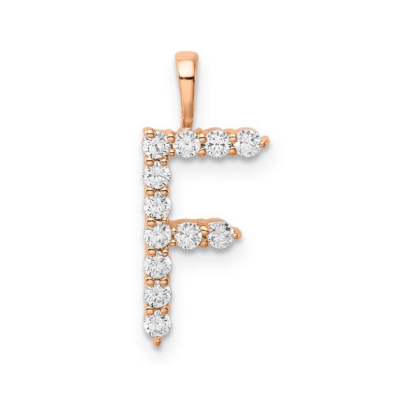 "Greenberg's 14k rose gold initial ""F"" pendant"