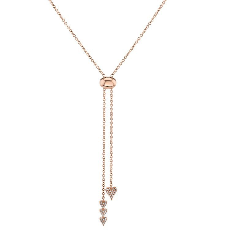 Shy Creation 0.1CTW 14 K/R Diamond Pave Bolo Necklace