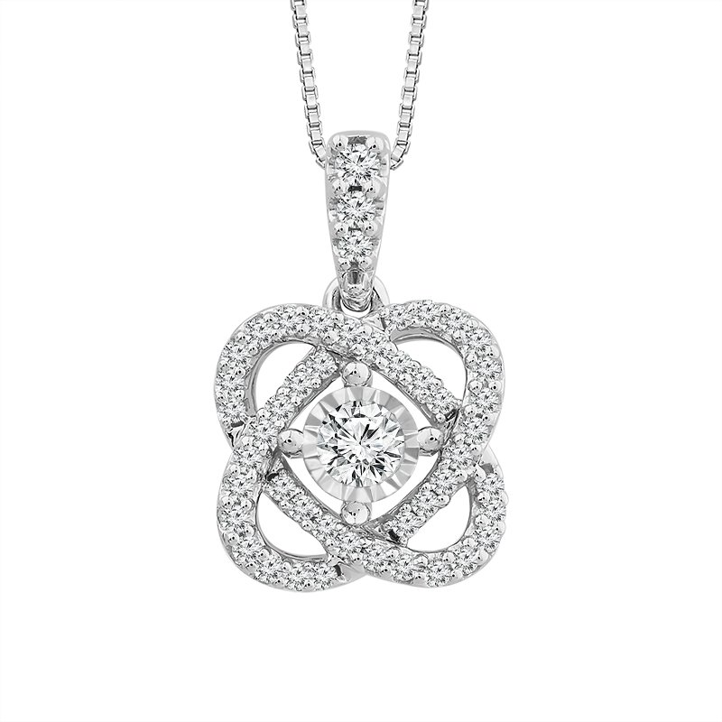 """Greenberg's 14k white gold """"only you"""" collection diamond pendant"""