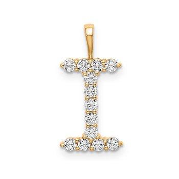 "14k yellow gold initial ""I"" pendant"