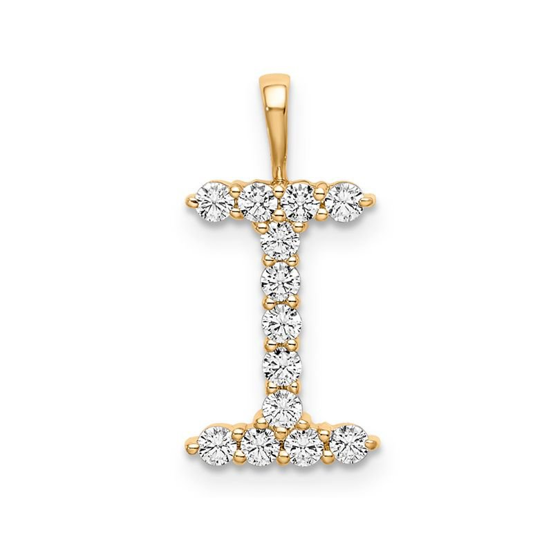 "Greenberg's 14k yellow gold initial ""I"" pendant"