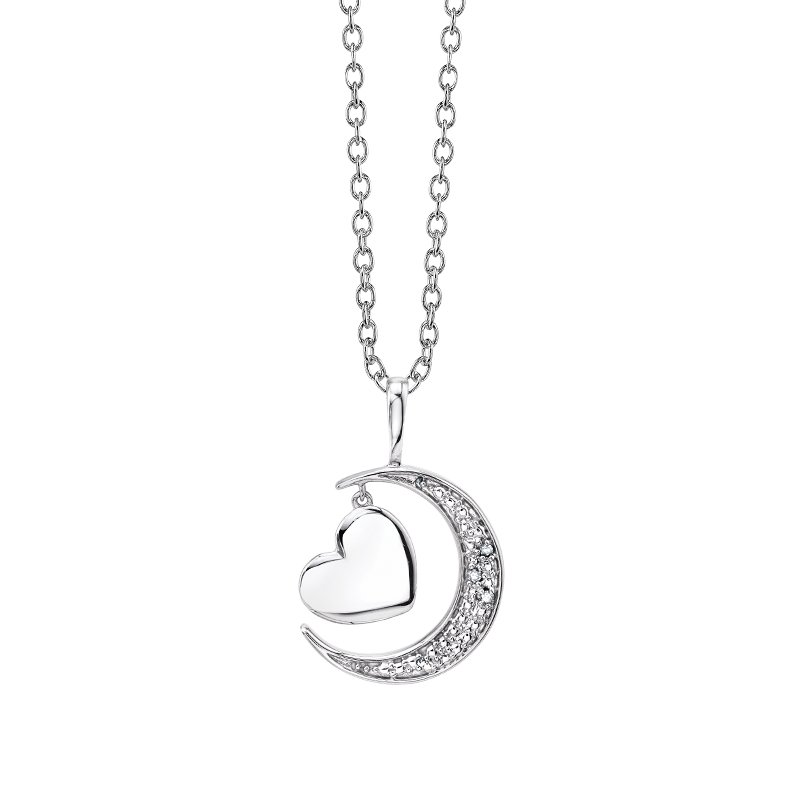 """Greenberg's sterling silver """"I love you to the moon and back"""" pendant"""